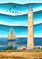 San Vito Lo Capo lighthouse Sicily Art Print By Sarah Jane Holt Large Version