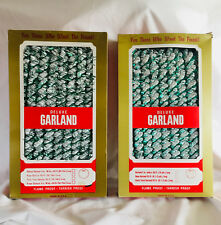 2 Vintage Boxes(25 Ft) Revlis Christmas Garland -Green & White Twist -Never Used