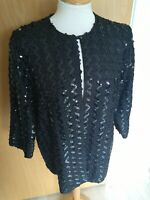 Ladies Jacket Size 16 Black Sequin Party Evening Cruise Occasion