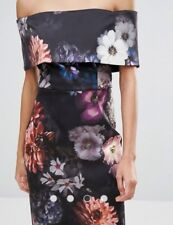 NWOT Asos Petite Floral Pencil Dress Size 2 Deep Fold Off Shoulder