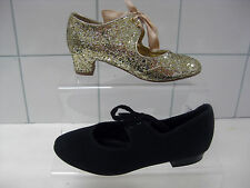 girls shoes: Roch VALLEY black tap dancing size UK 13 MONSOON gold sequins UK 12