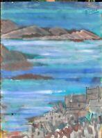 """André TELLIER  - """"""""Presqu'île de Gien """" grande GOUACHE vers 1950/60"""
