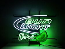 "New ListingNew Bud Light Lime Neon Light Sign Lamp 20""x16"" Beer Bar Real Glass"
