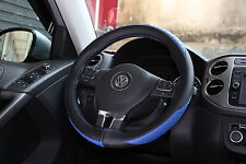Black + Blue PVC Leather Steering Wheel Wrap Cover w/ Needle Thread DIY tC Golf