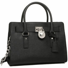NWT Michael Kors HAMILTON E/W Satchel Tote Saffiano Leather Bag In BLACK $298