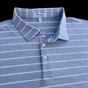 Peter Millar Crown Sport Hannover Summer Comfort Polo Shirt Grey Stripe 2XL $94
