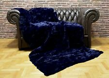 Luxury Real Blue Navy Rex Rabbit Throw Blanket