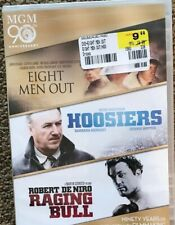 Eight Men Out/Hoosiers/Raging Bull (Dvd, 2014, 3-Movie Set- Brand New- Mgm 90th