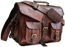 New Brown Vintage Men's Goat Leather Messenger Shoulder Bag Notebook Laptop Case