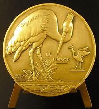 Medaille Le Héron qui pêche sc Jean Vernon c1940 animal Heron who fishes Medal