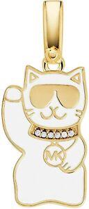 MICHAEL KORS 14K GOLD-PLATED STERLING SILVER MANOKI-NEKO CAT CHARM, NIB/TAGS