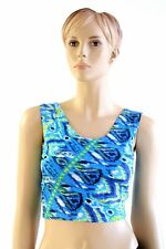 SMALL Abstract Peacock Ikat Spandex Sleeveless Crop Tank Top Ready To Ship!