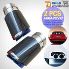 2 Pcs Akrapovic Universal 63-89mm Auto Carbon Fiber Glossy Exhaust Tip End Pipe