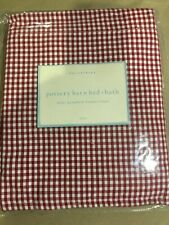 POTTERY BARN RED AND WHITE GINGHAM CHECK OVAL BASKET LINER