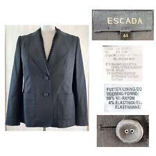 ESCADA EUR 44 US 14 Black Cotton Stretch 2 Button Blazer Jacket Pleated Trim EUC