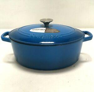Cuisinart 5.5 Qt. Cast Iron Casserole Cookware Dish CI755-30BLG Oval, Blue