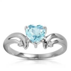 Genuine Aquamarine Heart & Diamond Ring In 14K Yellow, White or Rose Gold