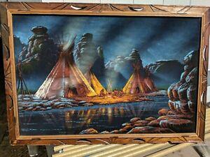 Native American Velvet Painting Sanchez Original teepee on the river