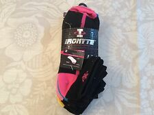 6 Pairs of Ladies Ironyte Ultra Lites Moisture Management Socks - Black with Col