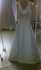 White Satin Beaded Detachable Train Wedding Gown Dress - Size 10