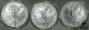 Lot of 3: 2020 Mexico Libertad 1oz Silver .999 Coins Encapsulated