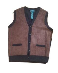 Ralph Lauren Mens Leather suede front vest cashmere L FLAWS button front