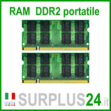 KIT RAM 4GB (2x2GB) DDR2 LAPTOP PC2-6400S 800Mhz SODIMM Notebook Portatile NoEcc