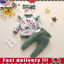 3pcs Newborn Baby Girls Kid Romper Floral Tops Pants Headband Clothes Outfit Set