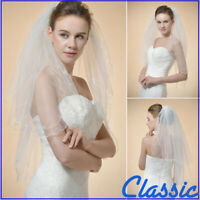 Classic White Ivory Lace Veil Elbow Length 2 Layers Floral Wedding Bridal Veils