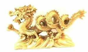 """NEW  Chinese Feng Shui Dragon Figurine Statue for Luck & Success 6"""" LONG GOLD"""