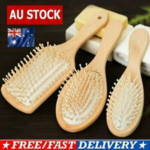 Bamboo Wooden Hair Brush Anti-Static Oval Head Meridian Massage Combs ON