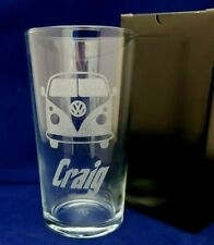 PERSONALISED VOLKSWAGEN VW CAMPERVAN PINT GLASS WITH YOUR NAME gift box VW VAN