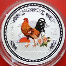 """Australien 50 Cents 2005 1/2 Uz Lunar I Coloriert """"Year of the Rooster"""" #F 0858"""