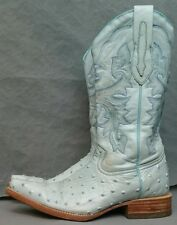 Big Girls or Womens Light Blue Fake OSTRICH Leather Western Cowboy BOOTS Size 4