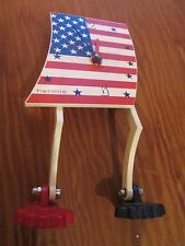 Walking American Flag Desk Table Clock Hermle Germany Battery Op Moveable Feet