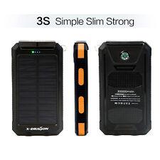 UK Waterproof 300000mAh 2USB Solar External Battery Charger Power Bank for phone