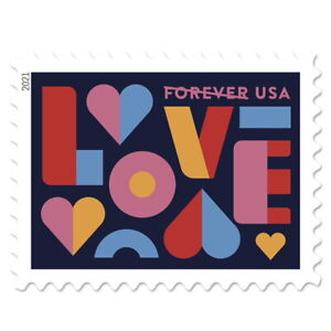 USPS 'Love Stamp of 2021' Forever Postage Stamps, Full Pane of 20 (Free Ship)