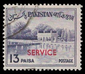 "PAKISTAN Stamp - ""Service"" Red Overprint, 13 Paisa, See Photo A17U"