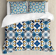 Traditional King Size Duvet Cover Set Portuguese Tilework with 2 Pillow Shams