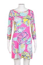 LILLY PULITZER Dress Size XS 3/4 Sleeve Pink Blue White Mini Cotton Floral