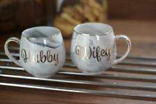 Set Of 2 Mugs Hubby Wifey Mr And Mrs Wedding Gift Tea Coffee Marble Mug Present