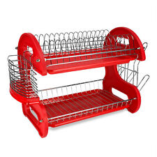 Home Basics 2-Tier Red Kitchen Sink Dish Drainer Drying Rack