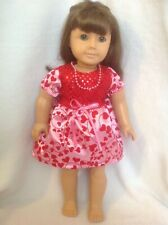 "Fit Bitty Baby 15""/18"" American Girl doll pink Red hearts dress clothes outfit"
