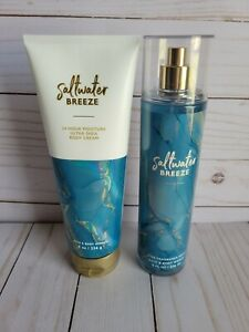 bath and body works saltwater breeze body cream and fine fragrance mist