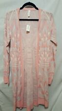 NWT PEACH BLUE NORDIC AZTEC PRINT KNIT LONG DUSTER OPEN CARDIGAN SWEATER JR. XL
