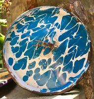 "Antique Blue & White Swirl Graniteware Bucket Lid 8-1/2"" Diameter Part"