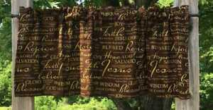 Christian Faith Brown & Gold Religious Bible Verses Handcrafted Curtain Valance