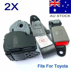 2X For Toyota 3-Points Universal Driver Passenger Seat Belt Seatbelt Strap Grey