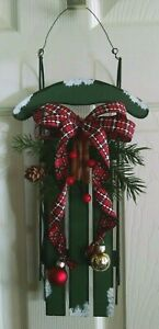 Sled Wall Decor Wood &Metal Green Red Black White Country Decor Christmas Winter