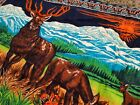 Vtg 70s 80s Wall Hanging Tapestry Deer Mountains Buck Elk sunset nature outdoors